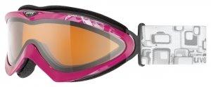 uvex Damenskibrille Corus Polavision (Farbe: 2221 black mat, polavision double lens, lasergold lite (S2))