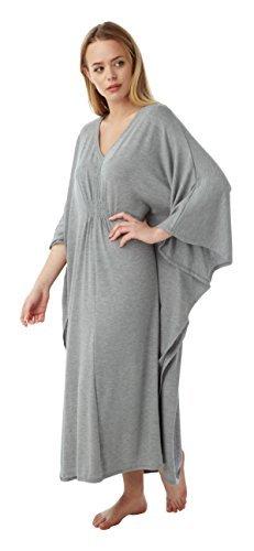 Femmes Long Longueur Vêtement De Loisirs Caftan Chemise De Nuit Gris chiné côtelé