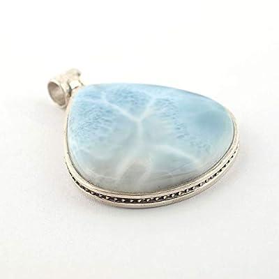 Pendentif de minéral Larimar bleu clair serti d'argent 925, 25x25x5 mm