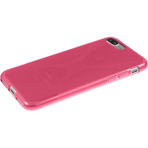 PhoneNatic Case für Apple iPhone 7 Plus Hülle Silikon lila X-Style Cover iPhone 7 Plus Tasche + 2 Schutzfolien Pink