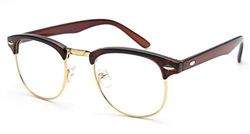 ESupFly Retro Klare Linse Gläser Dekobrille Dekogläser UV400 Gläser Brillen Rahmen Brillerahmen Nerd Brille Rahmen Dekorative Brille für Herren Damen (Gold+Braun)