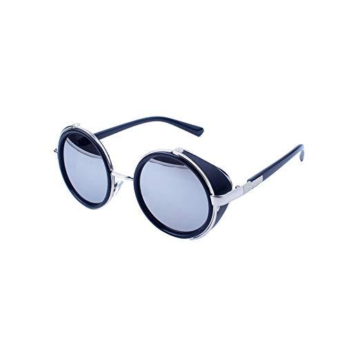 TrifyCore Rétro style Steampunk Lunettes de soleil Noir Brillant Cadre polarisants lunettes de soleil vintage petit miroir Lunettes de protection UV Lunettes pour les femmes