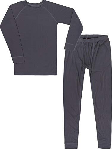 Kinder Thermounterwäsche-Set mit Quick Dry Funktion - (Langärmligem Oberteil + Langer Unterhose) - schnelltrocknend, Wärmend und Kuschelig - ÖkoTex100 Farbe Anthrazit Größe 110-116