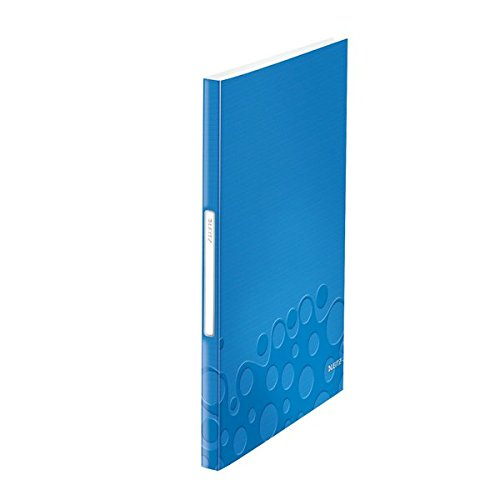 Leitz, Portalistino a fogli fissi, 40 buste, Capacità 80 fogli, Buste trasparenti, Finitura bicolore, Polipropilene, Blu metallizzato, WOW, 46320036