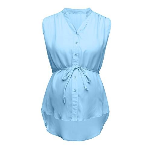 ZYUEER Damen Sommer Umstandskleid Tshirt Umstandsmode Kleider Frauen Umstandsnachthemd Schwanger Mutterschaft Pflege Solide Stillen Gestreiften Bluse Tuch -