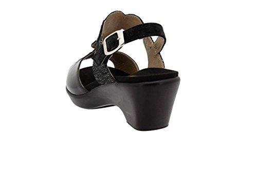 Komfort Damenlederschuh Piesanto 8857 keilsandalen herausnehmbaren einlegesohlen bequem breit Schwarz