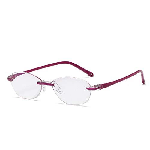 Lifet Frauen/Männer Ultraleicht randlos Lesebrille Lesehilfe Brillen TR90 Frame Anti-Blu-Ray Computer Dioptrien von +1.00-4.00 (+ 1,00, Lila)