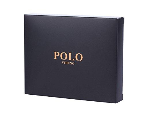 VIDENG POLO Männer verrückte Pferd Leder Beiläufig Stil Horizontale Geldbörse Brieftasche mit Geschenk Paket (W26) W21