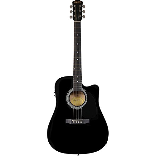 Fender 0930307006SA-105CE Dreadnought-Cutaway E-Gitarre-Schwarz Full 4/4 Schwarz