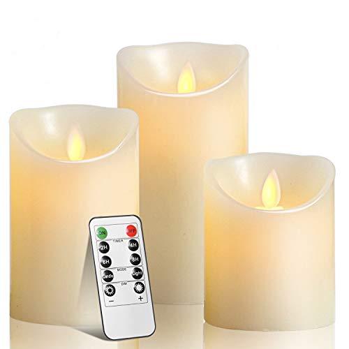 LED Kerzen,TEECOO Flimmern Flammenlose Kerzen, Φ 8CM x H 10CM 12CM 15CM Set von 3 echten Wachs-Säule Nicht Kunststoff mit 10-Tasten Fernbedienung Timer 300+ Stunden (3, Elfenbein) -