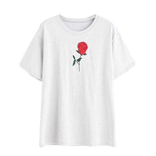 BZLine - T-Shirt été à Fleur Rose Applique en Coton - à Manches courtes - Femme Blanc