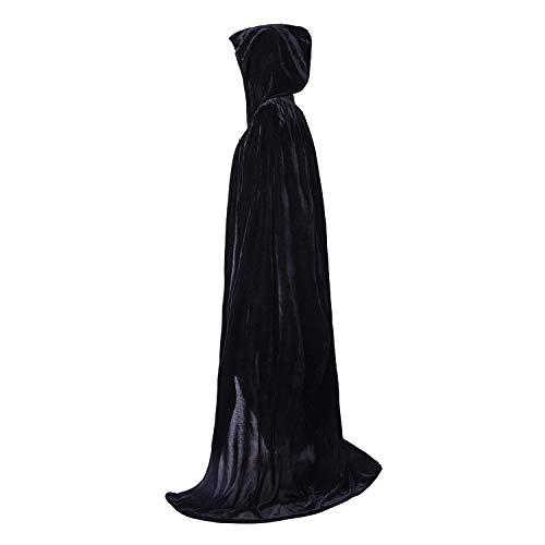 Manteau de velours, costume de Noël à capuche, déguisement 170 cm rouge/bleu/noir pour Halloween, noir, Taille unique