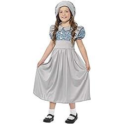 Smiffy's - Disfraz de School Girl Victorian con Vestido y Sombrero, Color Gris (27532M)