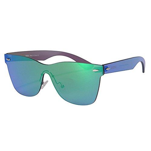 Sunglassesman yxsd occhiali da sole riflesso bicolore lente vintage retro style cornice classica protezione uv400 unisex (colore : green)