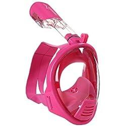 SunRhyme Taille Enfant Masque de plongée avec Tuba Masque de plongée Gratuit Respiration Masque de plongée antibuée Masque de plongée avec Tuba pour Enfant Taille XS Bleu et Rose, Enfant Fille, Rose