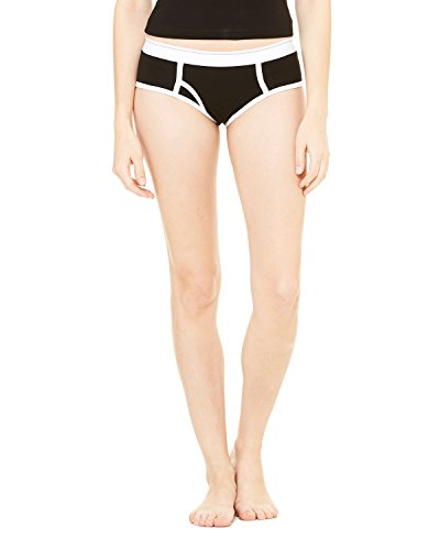 Ladies' Cotton/Spandex Boyfriend Brief BLACK/ WHITE XL -