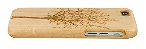 SunSmart Einzigartigen, handgefertigten Original Natural Wood Holzfest Bambus Case/Hülle/Tasche für iPhone 6 4.7''(Farbstreifen) Baum Ahorn