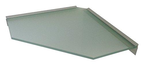 Glasregal 10mm ECKE 45x45 cm Pentagon satiniert mit Profil LINO10 / Platz für Kabel/ 1 Regal - Eck-glasregal Satiniert