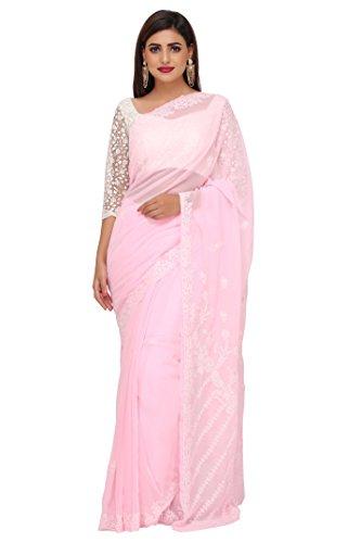 ADA Lucknow Chikankari Handmade Faux Georgette Saree A183623
