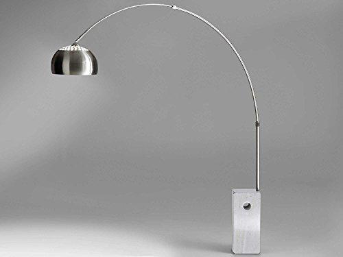 Bogenleuchte Stehleuchte Bogenlampe Marmorfuß weiß VIVIANA Edelstahl Silber Stehlampe