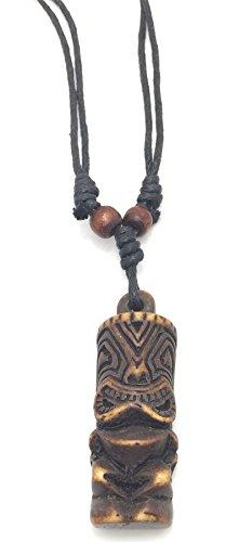 Halskette, Tiki-Totem, geschnitzt,Surfer,Braun