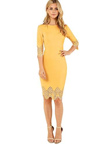 SOLY HUX Damen Figurbetont Kleid 3/4 Ärml Ballonkleid Sommerkleid Party Kleider mit Muscheln Cut Outs Gelb S - Kleider, Cut-outs