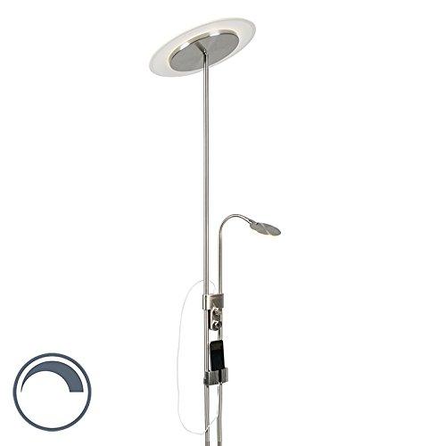 non rempla/çable Verre Majorque//Oblong 1 x 20 W///éclairage int/érieur//lumi/ères//lumi/ères//salon LED max QAZQA Lampadaire moderne en bronze avec bras de lecture LED