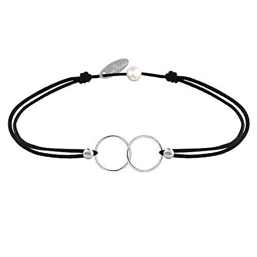 Les Poulettes Bijoux - Bracelet Lien Argent Anneaux Toi et Moi - Classics - Noir