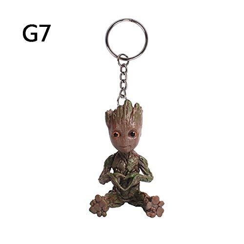 RivenDell Movie Guardians of The Galaxy Hand PVC Mini Baby Groot Figuren Schlüsselanhänger Modell Puppe Spielzeug, G7 (Love Groot)
