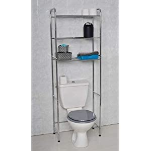 Mueble para baño WC de metal cromado con 3 estanterías