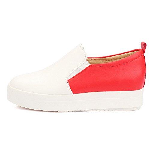 AllhqFashion Material Pumps Gemischte Schuhe Absatz Weiches Mittler Rot Rund Zehe Farbe Damen rtwRYzqr