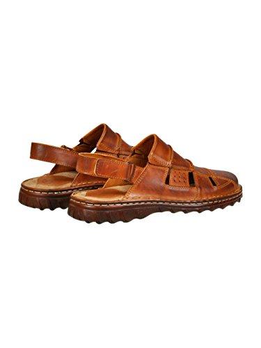 Chaussures Confortables Une Forme Orthopedique En Cuir De Naturel De Buffle Samdals Modele 838 Brun