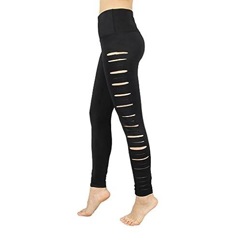 Byjia Jeans De Yoga De Danse Collants Creux Était Mince Abdomen Couleur Solide Sweatpants Femme Exercice Gym Sports Fitness Élasticité De Loisirs Black Xl