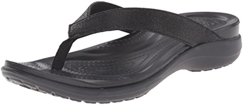 Crocs Women's Capri V Shimmer Croslite Toe Post Flip Flop Black