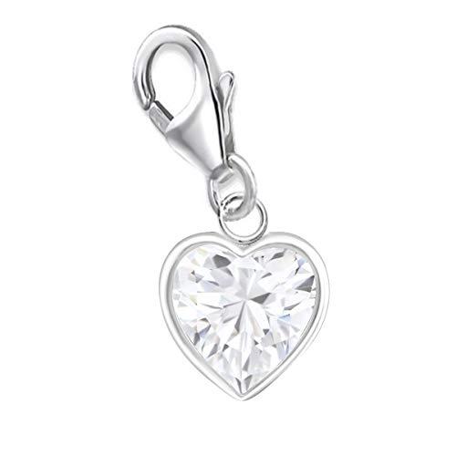 Charms Anhänger für Bettelarmband 925 Echt Silber Kinder Mädchen Damen Sterlingsilber (Herz CZ Weiß 8x7mm)
