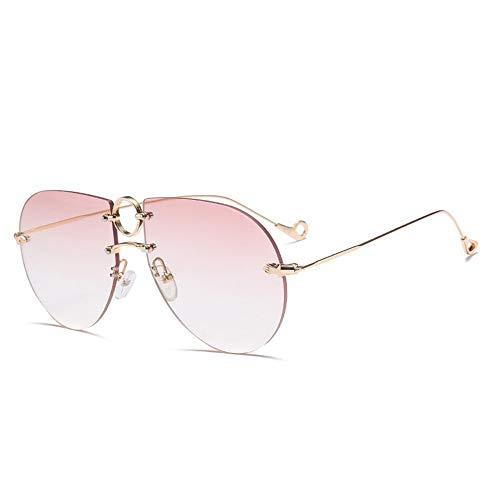 FURUDONGHAI Besteck rosa Mode rahmenlose Sonnenbrille Persönlichkeit Outsize Box Sonnenbrille Cover Face Street Brille besonders geeignet für sommerreisen oder Outdoor s (Farbe : Pink)