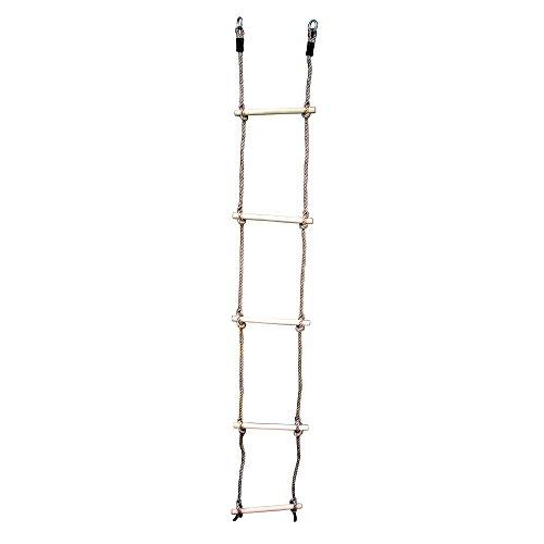 HIKS® Escalera de cuerda para niños con peldaños de madera ideal para escalada, árbol, casa de juegos