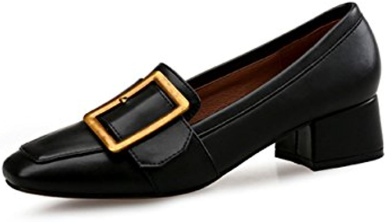 Cabeza Cuadrada con Solo Zapatos Salvaje Hebilla de Metal Perezosa