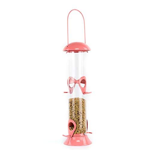 JXXDDQ Mangeoires pour Oiseaux Mélange Coeur et graines de Tournesol Suspendu Tube d'alimentation pour Petits Oiseaux (Couleur : Pink)