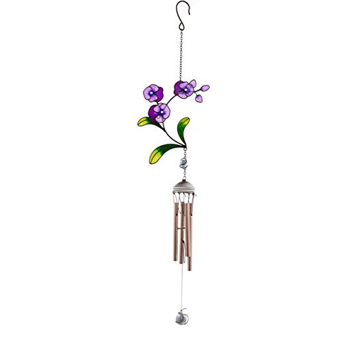 Beautiful diseño de flores, cristal, metal y resina-Carillón de