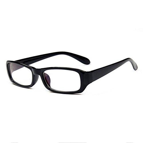 Fett Rahmen Spiegel (Z&YQ klar Linse Gläser Flieger Spiegel Myopie fett Rahmen Mode Schutzbrillen , bright black)