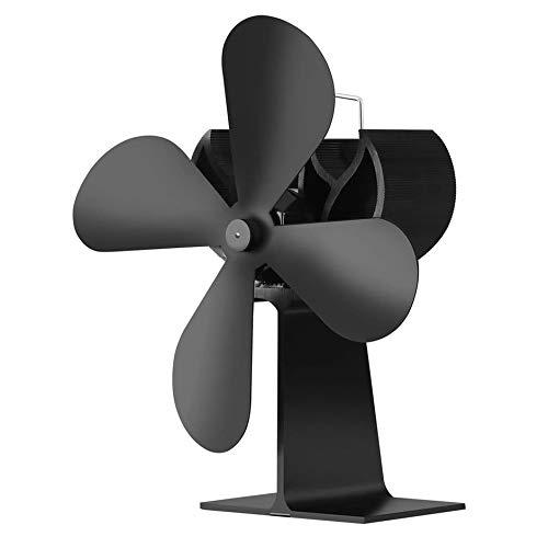 WEIWEITOE-DE Energiesparender, wärmebetriebener Ofenventilator Geräuscharmer Kaminventilator Umweltfreundlicher Holzverbrennungsventilator Keine Elektronik erforderlich, schwarz,