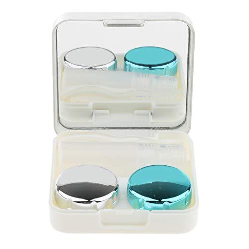 Kontaktlinsenbehälter Spiegel (P Prettyia Kontaktlinsenbehälter Modische Reise Kontaktlinsen Etui Linse Spiegel Case Behälter Set - Silber, 6,2 x 6,2 x 2 cm)