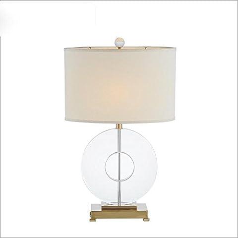 OOFWY E27 Crystal Dekorative Tischlampe Modern Einfache Stil für Hotel Schlafzimmer Wohnzimmer Bedside Dekoration Weberei Tuch Lampenschirm Runde Crystal Schreibtisch Lampen Höhe 26inch