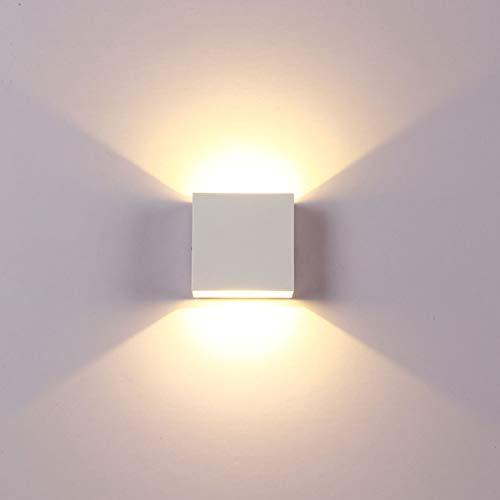 LEDMOMO Applique murale carrée à LED pour salon, chambre à coucher, couloir, escalier (blanc)