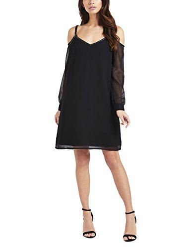 Lipsy Damen Verziertes Kleid mit Schulterausschnitt Schwarz EU 32 (UK 4) (Floral Verziert Denim)