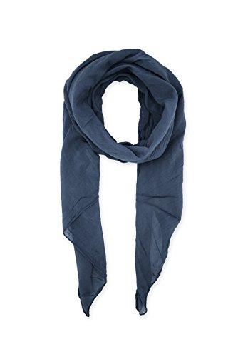 Abbino 0804-1 Damen Schal Tuch - Made in Italy - 20 Farben - Frühjahr Sommer Herbst Damenschal Seidenschal Baumwolle Seide Uni Unifarbe Sale Sexy Klassisch Lang Weich Lässig Freizeit - Blau