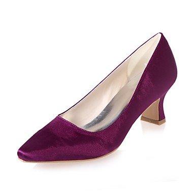 Wuyulunbi@ Scarpe donna raso Primavera Estate della pompa base di nozze blocco scarpe tacco punta quadrata per la festa di nozze & sera un Champagne blu rosso Viola