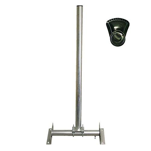 SkyRevolt Dachsparrenhalter SR60 1m Sat Mast verstellbar verzinkt + Mastkappe mit Kabeldurchführung -