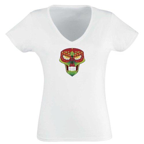 V-T-Shirt - Matey Skull 28 - Totenkopf - Sugar Skull - Damen Weiß